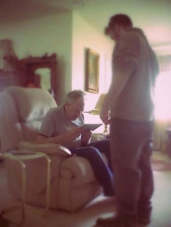 Older man with ipad