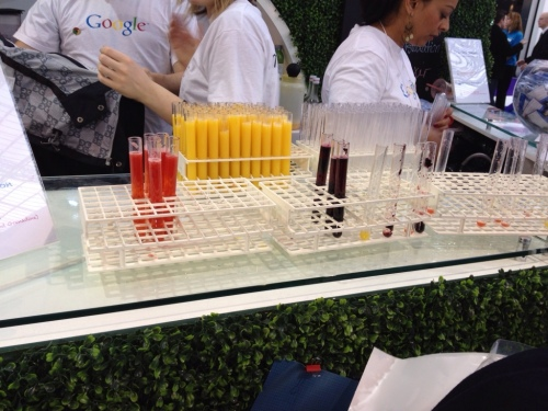 Test tubes with smoothies