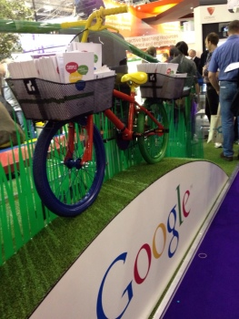 Google stall with bicycle