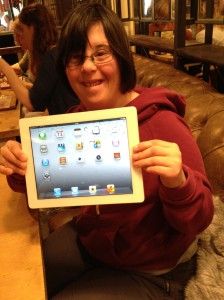 'Laura' holding her new ipad